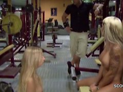2 German Teens Caught and Fucked Hard in Public Gym