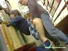 Schoolgirl Giving Blowjob Getting Her Pussy Fucked Facial By Old Man In The Bookstore