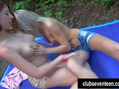 Sexy teens Katy and Elis lick pussies outdoor
