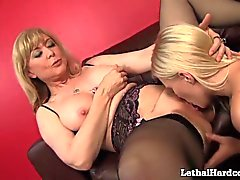 MILF Nina Hartley Gives Teen Girl Her First Lesbian Orgasm!