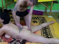 Black hair granny by german threesome double penetration