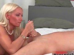 Sexy blonde babe goes crazy jerking