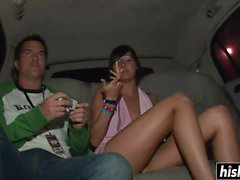 Horny girls strip in the car