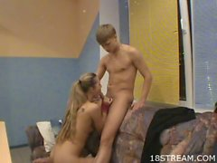 Amateur blonde teen babe gets railed from back.