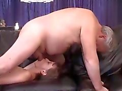 Rimming - Ugly Girl Licking Older Mans Ass