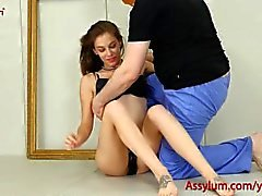 Beautiful art babe gets rough anal fucking and a hard spanking