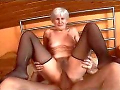 Granny fucked while in her black stockings