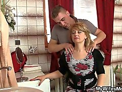 Mature blonde mother-in-law horny sex with daughter's hubby