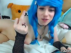 Adorable Blue Hair Teen Pussy on Cam