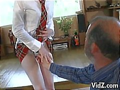 Horny old man hits on a young redhead