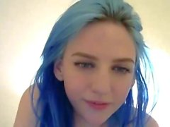 Blue haired teen with big tits