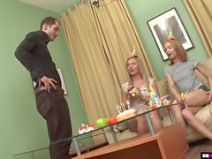 Birthday Party Turns Into Threesome