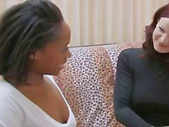 Ebony babe bangs lesbian with strap on