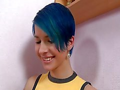 Blue haired punk girl Ebba