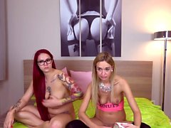 Hot redhead lesbian teen pussy laps blonde
