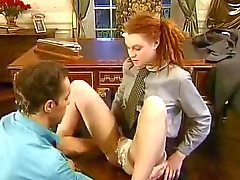 Teen redhead is aroused by his big cock