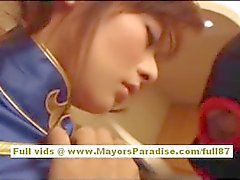 Japanese model in uniform does blowjob
