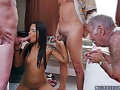 Latina Nikki Kay gangbang with the oldies