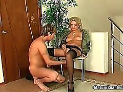 Busty granny is spanked by horny young part4