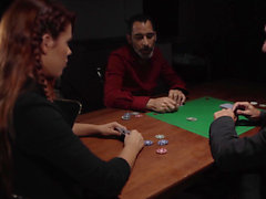 Redheaded poker hottie goes all in
