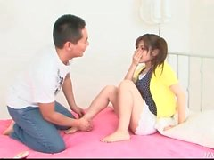 Shaving hairy pussy of a cute Japanese teen