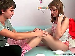 Cute face teen girl Gerda getting tight
