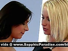 Cute brunette and blonde lesbians kissing and licking nipples and having lesbian sex