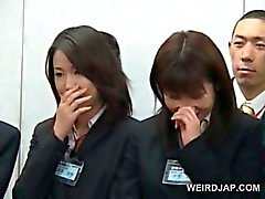 Teen Japanese girl showing her dick rubbing skills at a seminar