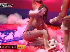 Brazzers - Soapy Soccer sluts get ass fucked in hot threesome