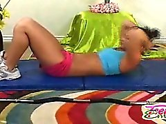 Horny 18 yo pigtailed Emery working out and sweating after