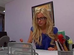 Young blonde cute secretary getting it in the ass