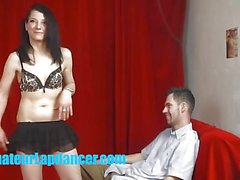 Alluring babe lap dancing