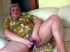 Fat Old Dildo Fucking Oma