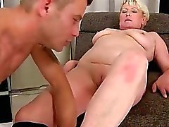 Granny and handsome young man enjoying hot sex