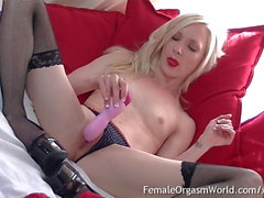 Petite Blonde with Tiny Tits Masturbates and Cums Twice