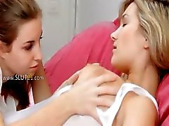 Lesbian lovers gagging and touching