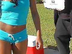 Teen ebony Hazel selling water but was picked up