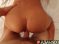 Asian Sex Diary - Young Asian beauty with hairy pussy takes white cock