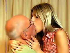 Horny teen pussy licked and fucked by the old guy