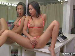 Asian Teen Alina Li with tight pussy takes dick by the mirror