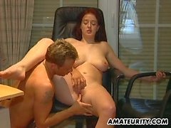 Amateur couple steamy office sex