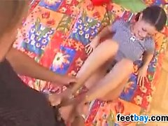 Sweet Girl Gives Him A Great Footjob